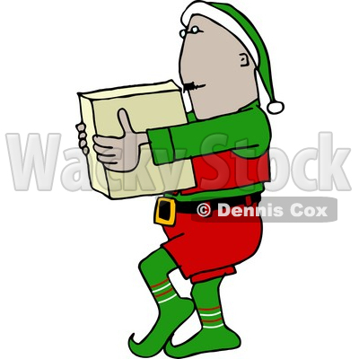 400x400 Elf Carrying A Christmas Toy In A Box Clipart Picture Djart