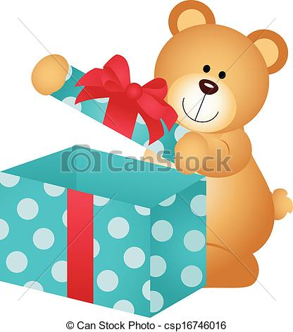 416x470 Scalable Vectorial Image Representing A Teddy Bear Open Gift