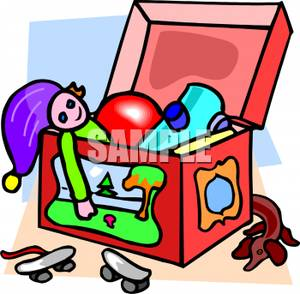 300x294 A Colorful Cartoon Of A Kids Toy Box Full Of Toys