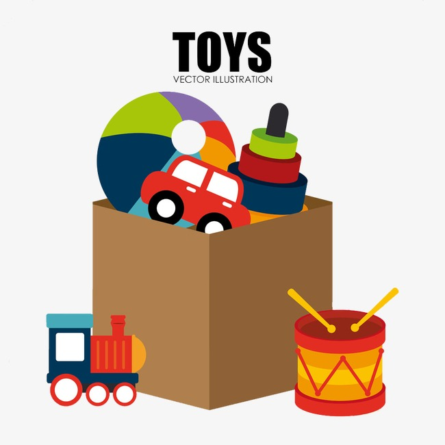 650x650 Toy Box, Kids Toys, Rubber Ball, Cartoon Locomotive Png Image