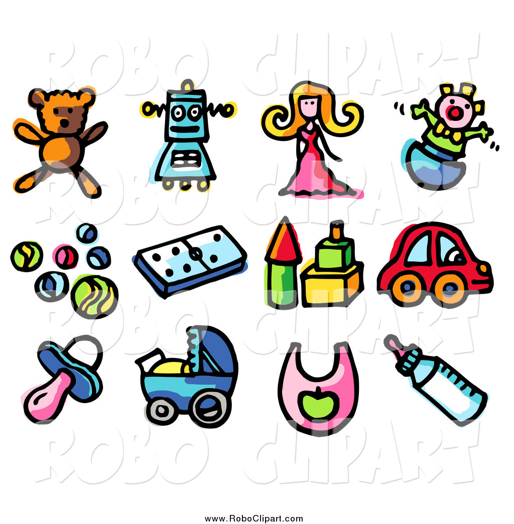 1024x1044 Clip Art Of Baby Toy Teddy Bear, Robot, Doll, Clown, Balls