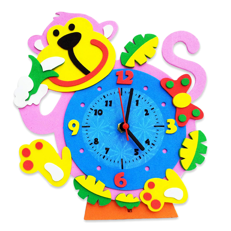 800x800 Eva Kids Handmade Sticker Diy Cartoon Clock Animal Kids Bedroom