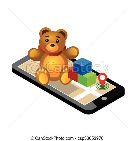 450x470 Isometric Online E Commerce Toy Shop. Searching For Gift