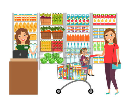 450x368 People Clipart Grocery Shopping Free Collection Download