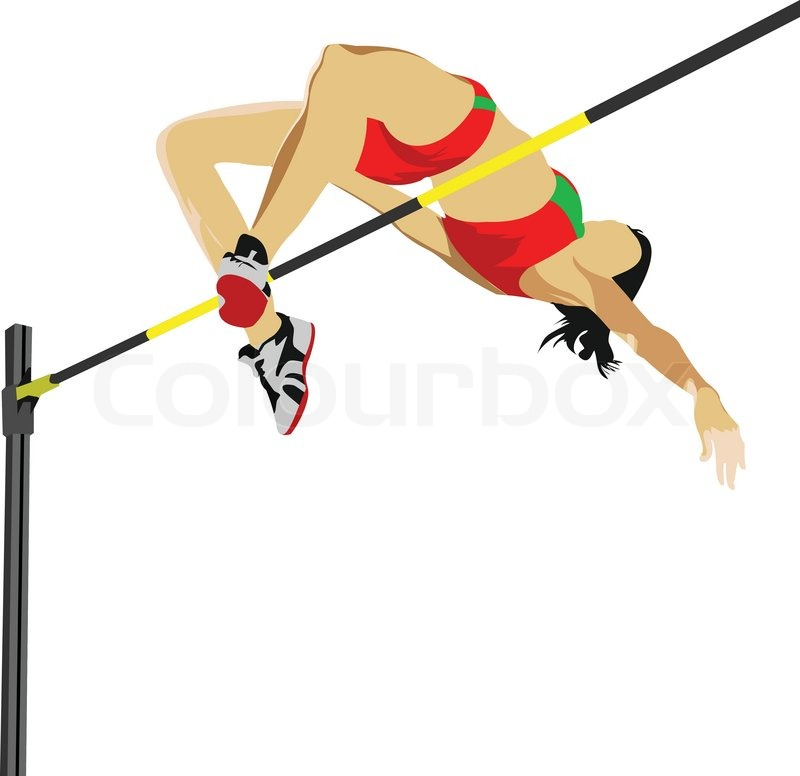 800x776 Woman High Jumping Track And Field Vector Illustration Stock