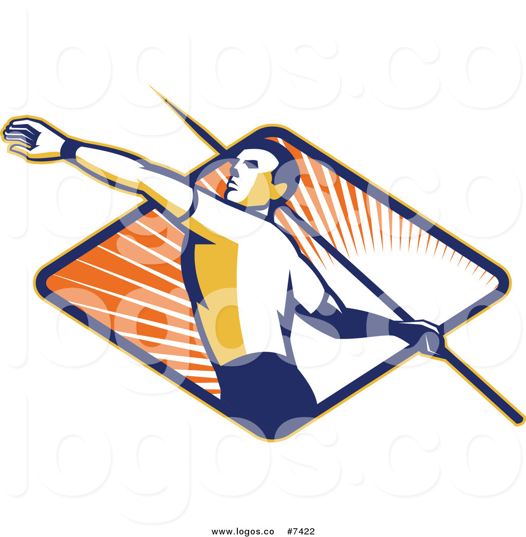 1024x1044 Royalty Free Clip Art Vector Logo Of A Javelin Thrower Over A Ray
