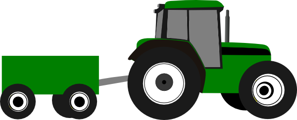 600x243 Tractor With Wagon Clipart