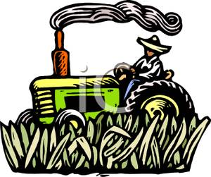 300x251 Royalty Free Clipart Image A Farmer Driving A Tractor