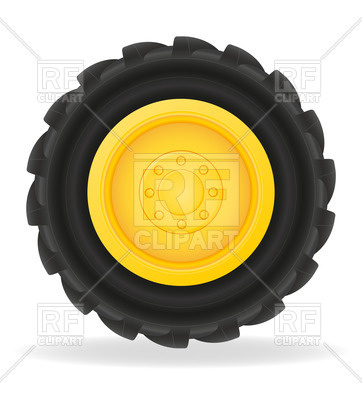 362x400 Tractor Wheel With Grooved Tire Casing Royalty Free Vector Clip