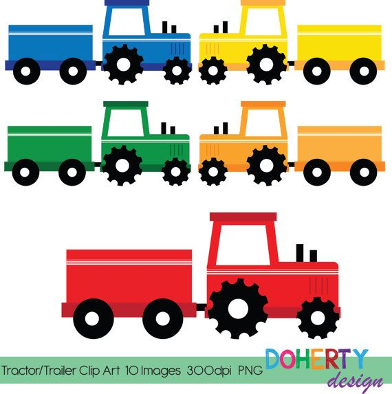 570x573 Instant Download ~ Tractor Trailer Frame Clip Art ~ Scrapbooking