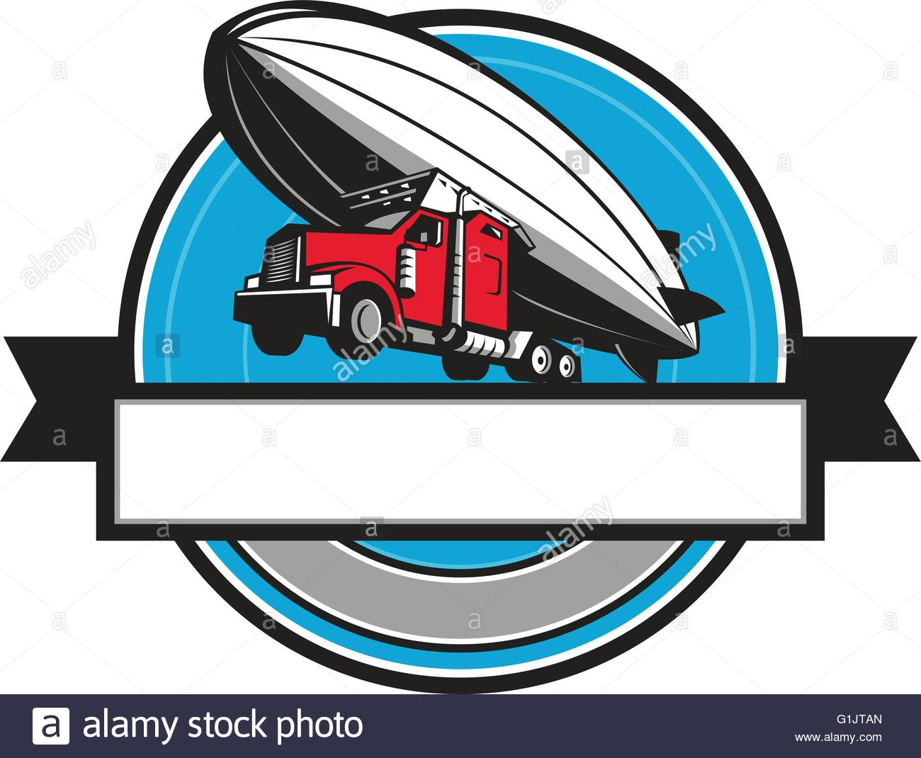 1300x1070 Illustration Of A Half Semi Truck Tractor Trailer And Zeppelin