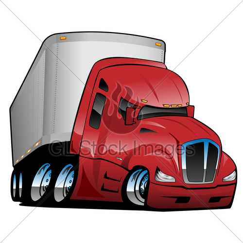 500x500 Semi Truck With Trailer Cartoon Vector Illustration Gl Stock Images