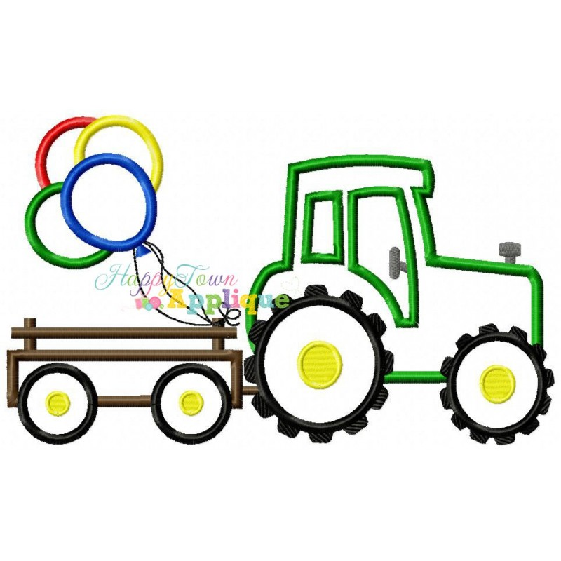 800x800 Tractor Trailer With Balloons Design