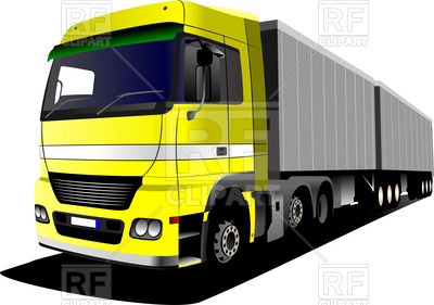 400x281 Yellow European Truck With Long Trailer Royalty Free Vector Clip
