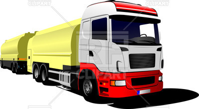 400x219 Yellow Truck With Trailer Royalty Free Vector Clip Art Image
