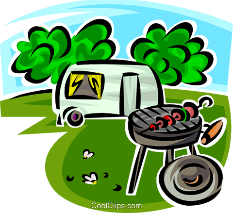 480x439 Barbecue And Camping Trailer Royalty Free Vector Clip Art