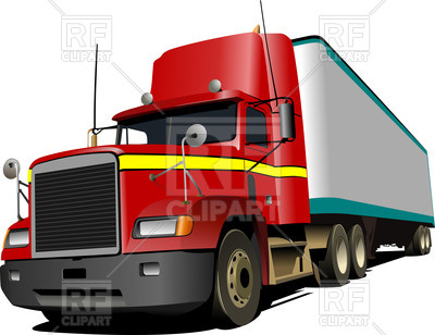 400x308 Red American Box Truck Royalty Free Vector Clip Art Image