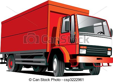 450x327 Red Truck. Detailed Vectorial Image Of Red Truck Isolated On White