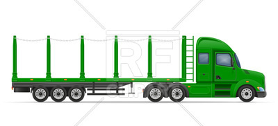 400x182 Side View Truck Semi Trailer For Transportation Of Goods Royalty