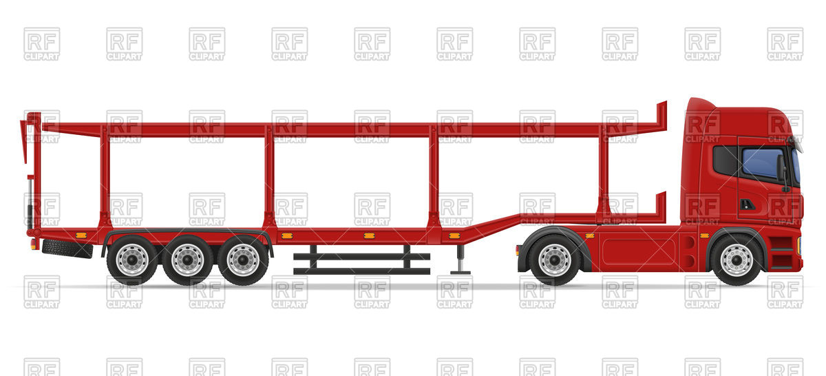 1200x546 Truck Semi Trailer For Cars Transportation Royalty Free Vector