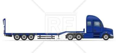 400x182 Truck Semi Trailer For Transportation Of Cars Side View Royalty