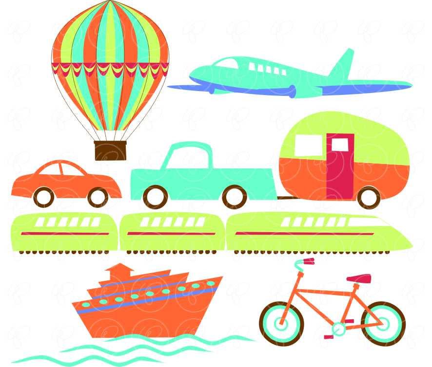 886x754 Let's Go Digital Clip Art Set Hot Air Balloon Airplane Train Car