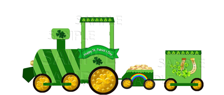 1500x639 St. Patrick's Day Train Clip Art, Single Graphic, Scrapbooking
