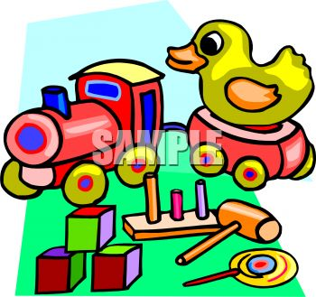 350x329 Royalty Free Clip Art Image Wooden Toys Train, Duck And Blocks