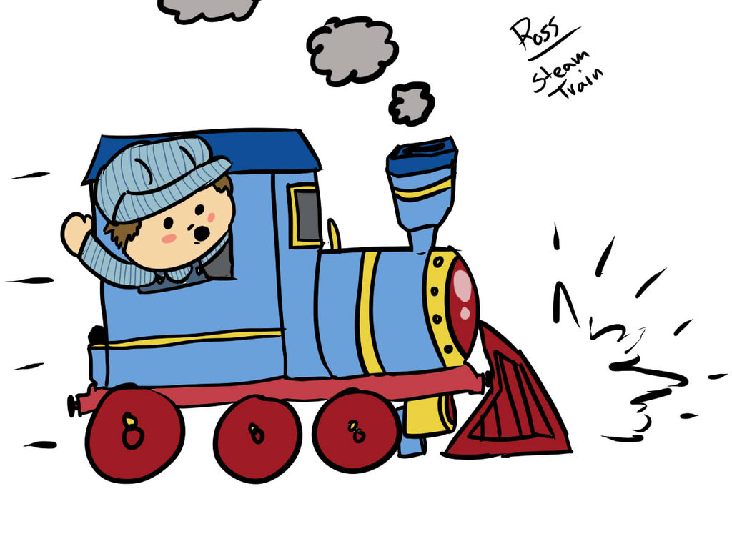 1024x768 Cartoon Train Conductor Group