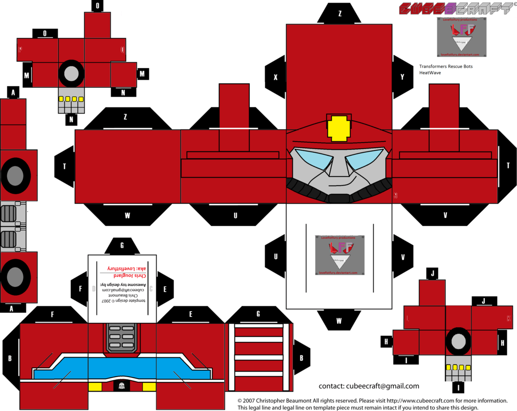 1024x815 Rescue Bots Heatwave Cubee Template By