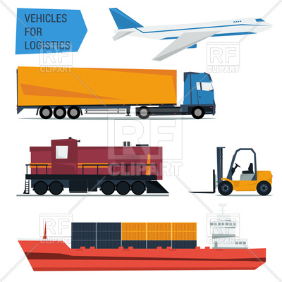 400x400 Set Of Freight Transportation And Delivery Logistics Royalty Free