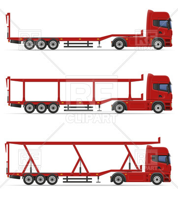 362x400 Truck Semi Trailers For Transportation Of Cars Royalty Free Vector