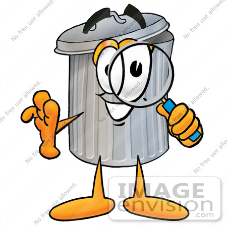 450x450 Clip Art Graphic Of A Metal Trash Can Cartoon Character Looking