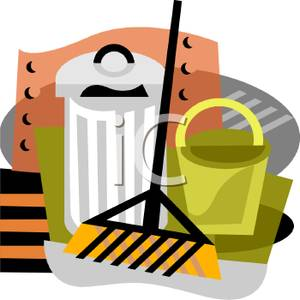 300x300 Clip Art Image A Rake Propped Against A Trash Can And A Bucket