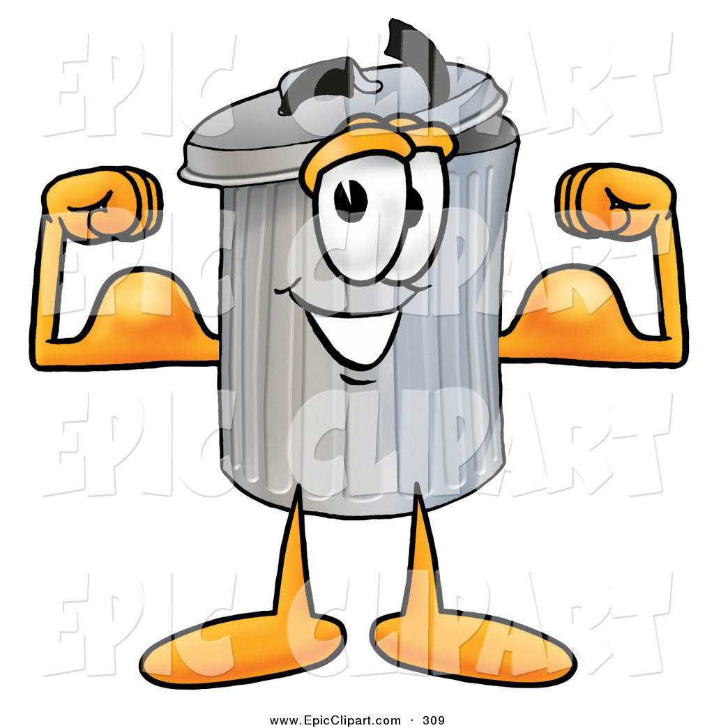 1024x1044 Clip Art Of A Strong Garbage Can Mascot Cartoon Character Flexing