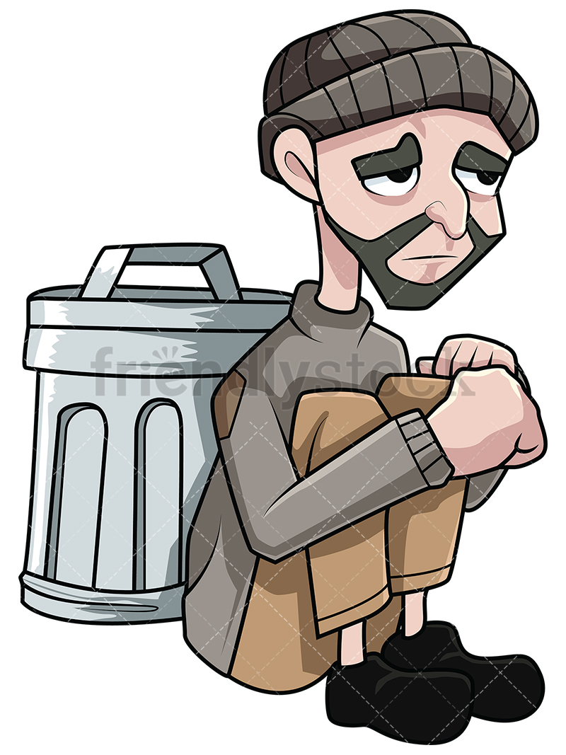 800x1067 Destitute Man Near Trash Bin Vector Cartoon Clipart