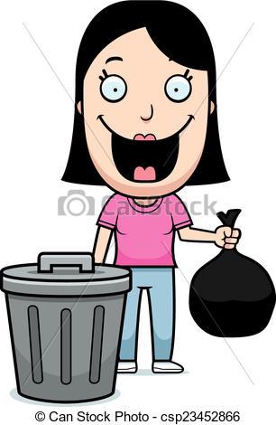 306x470 Cartoon Woman Trash. A Happy Cartoon Woman Taking Out The Clip
