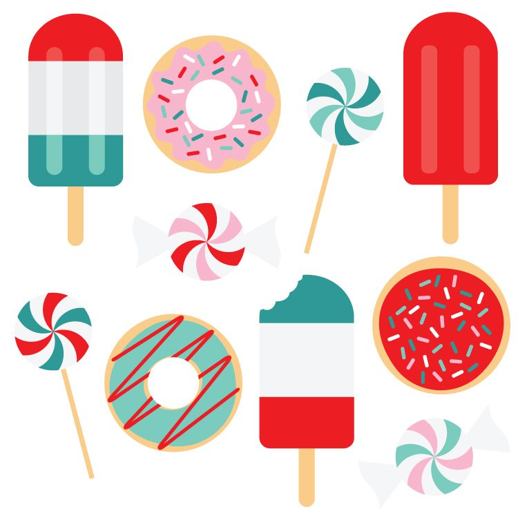 750x750 Festive Sweets Christmas Clip Art and Cut Files
