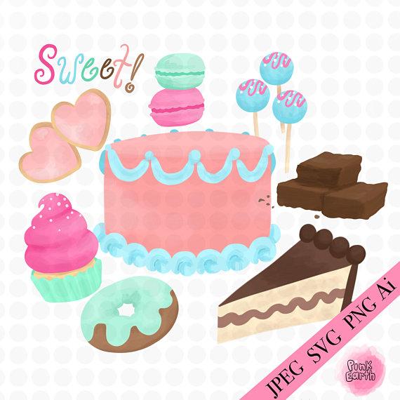 570x570 Sweets Svg Clip Art, Png, Bakery Vector Art, Watercolor Clip Art