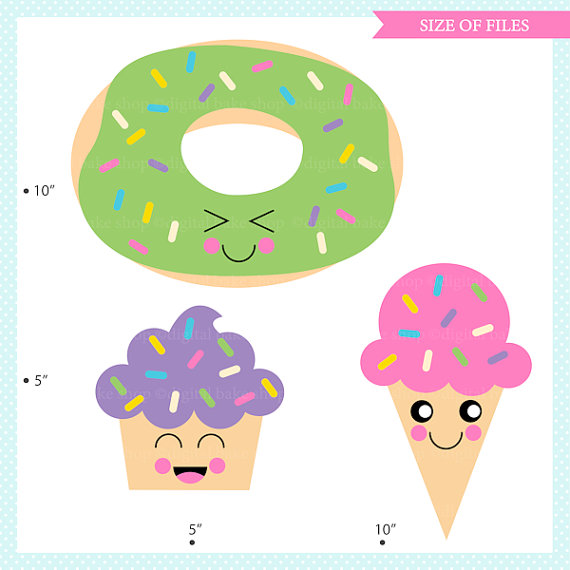 570x570 Kawaii Cupcake Clipart Clip Art Ice Cream Donut Treats Food