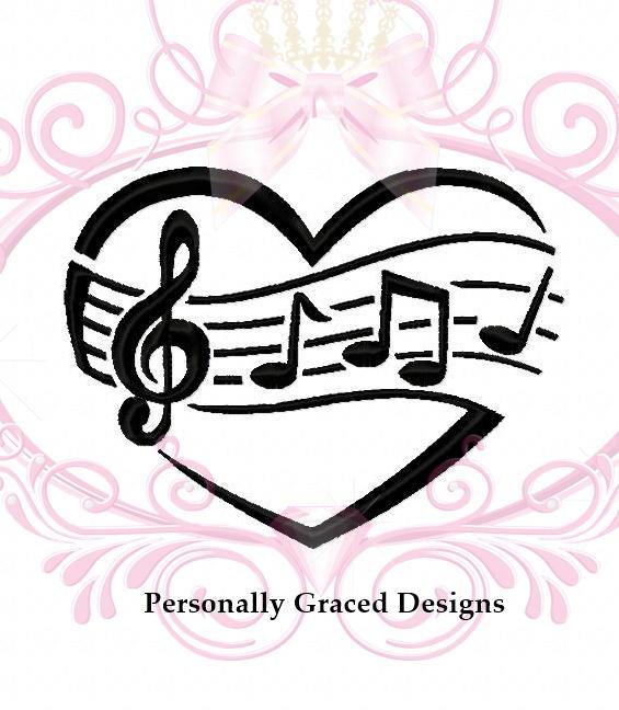 565x648 Music Heart Machine Embroidery Design, Music Notes, Music Design