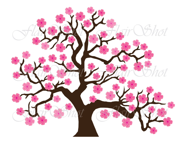1500x1159 Digital Clip Art, Pink Cherry Blossom Tree Clipart, Bonsai Tree