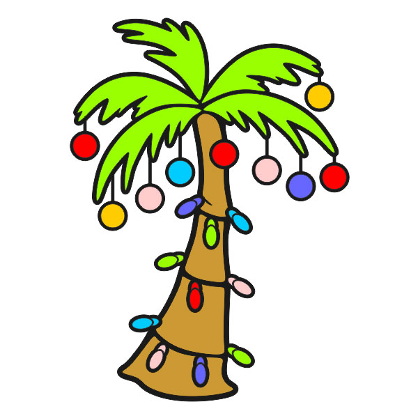 600x600 Palm Tree Clipart Christmas Pencil And In Color Clip Art