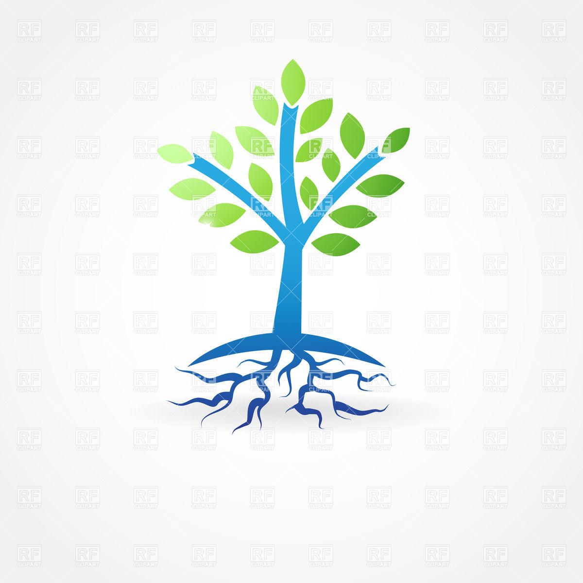 1200x1200 Simple Spring Tree With Roots Royalty Free Vector Clip Art Image
