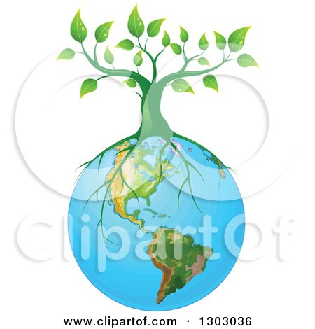 450x470 Tree With Roots Around Earth Clipart