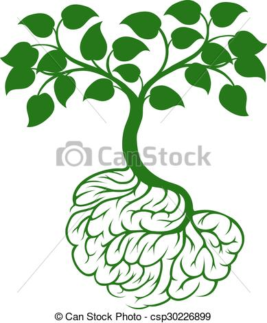 389x470 Brain Roots Tree. A Tree Growing From Rooots Shaped Like A Eps