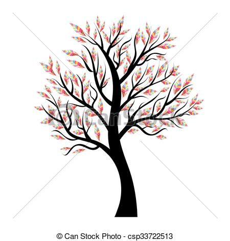 450x470 Stylized Vector Tree With Colorful Leaves. Design Element Vector