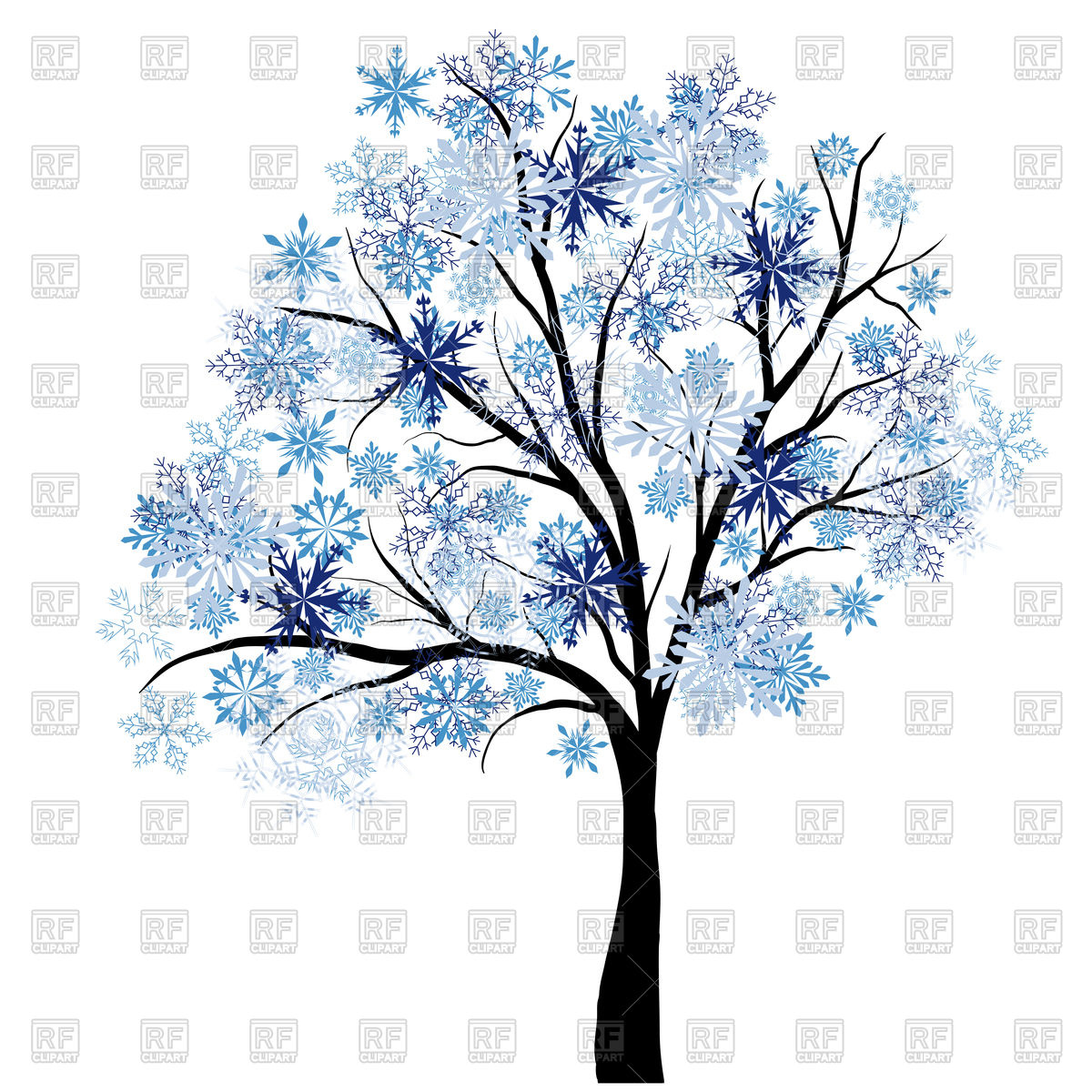 1200x1200 Beautiful Winter Tree With Snowflakes Leaves Royalty Free Vector