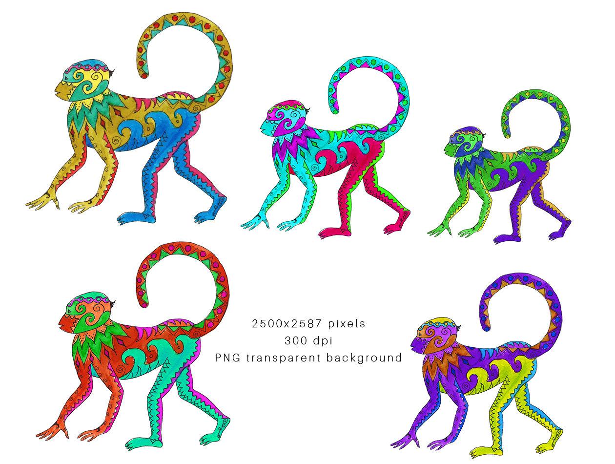 1260x950 El Mono Loco Clip Art, Monkey Clip Art, Watercolor Clipart