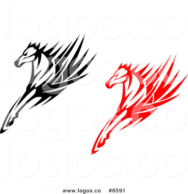 600x620 Royalty Free Clip Art Vector Logos Of Black And Red Tribal Horses